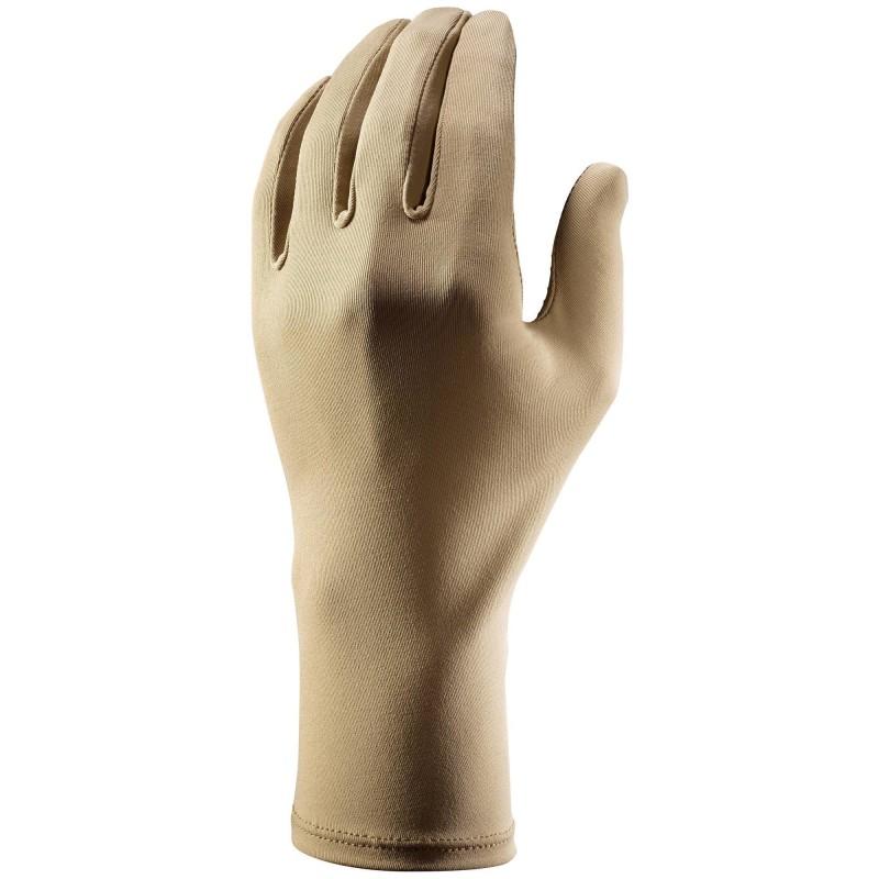 GUANTI DESERT 500: il tessuto UPF>40 limita l'esposizione delle mani ai raggi UV. I piccoli inserti in silicone permettono una buona presa degli oggetti. Il tessuto è traspirante.