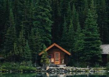 casa nel bosco in riva al lago